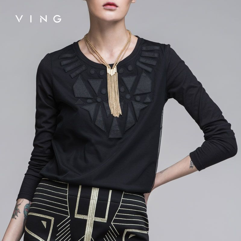 Ving Retro Geometric Pattern T-Shirt Slim Thin Round Neck Tee Shirt Femme Casual Solid Autumn T Shirts Women Black White Tops