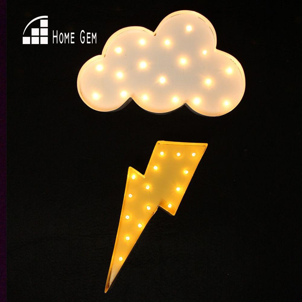 Signe blanc de chapiteau de LED de rayon de foudre de nuage en métal allument les lampes de mur de lumière de nuit Vintage décoration d'intérieur