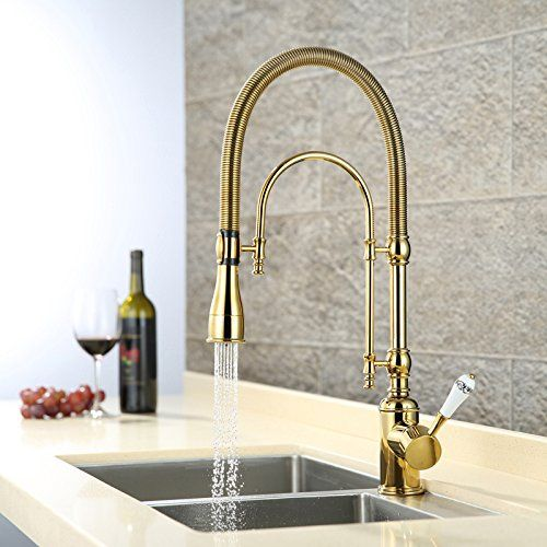 Luxury Gold 540mm high Pull Down Kitchen Faucet solid Brass sink mixer tap with two functions Pull Out spray