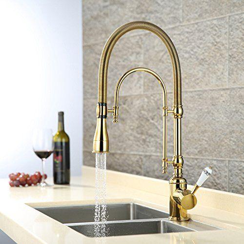 Luxus Gold 540mm hohe Pull Unten Küche Wasserhahn Aus massivem Messing waschbecken mischbatterie mit zwei funktionen Herausziehen spray