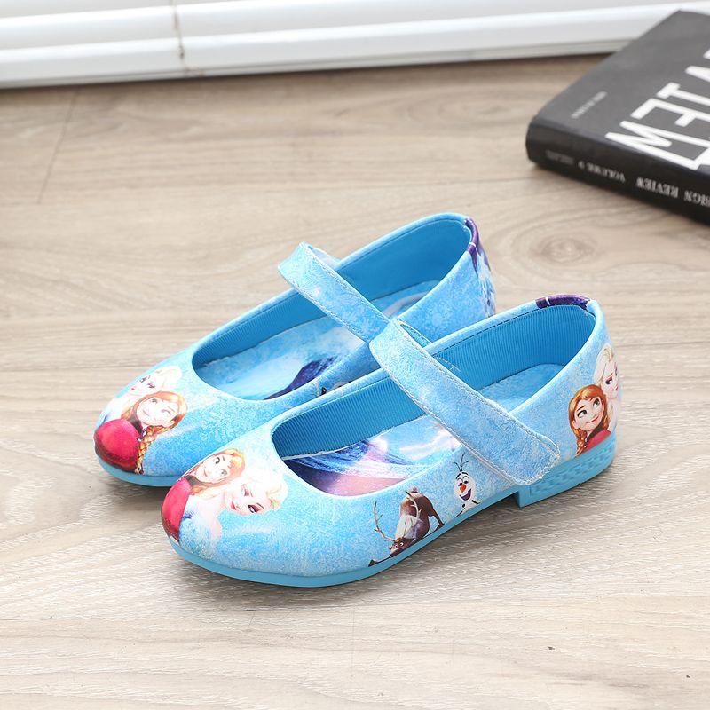 Дети Девушки Снежная королева Эльза Анна девушки принцесса блеск обуви один Сандалии для девочек танцевальная обувь в римском стиле без ко...