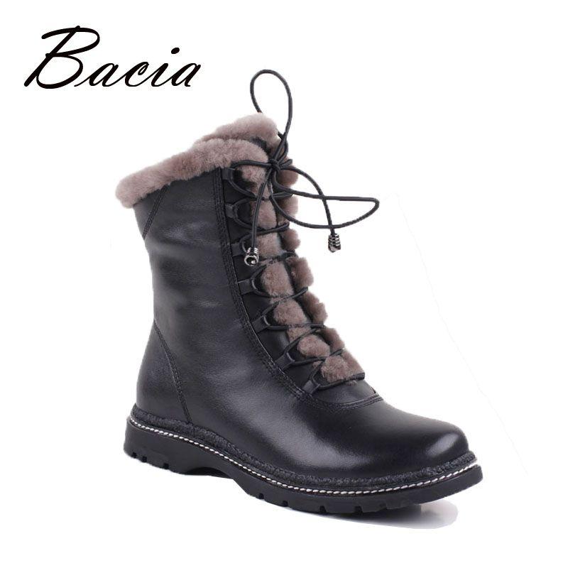 Bacia Winter Mid-Culf Warm Wool Fur Boots Genuine Full Grain Leather Long Plush Snow Boots Women High Quality Flat Shoes VB054