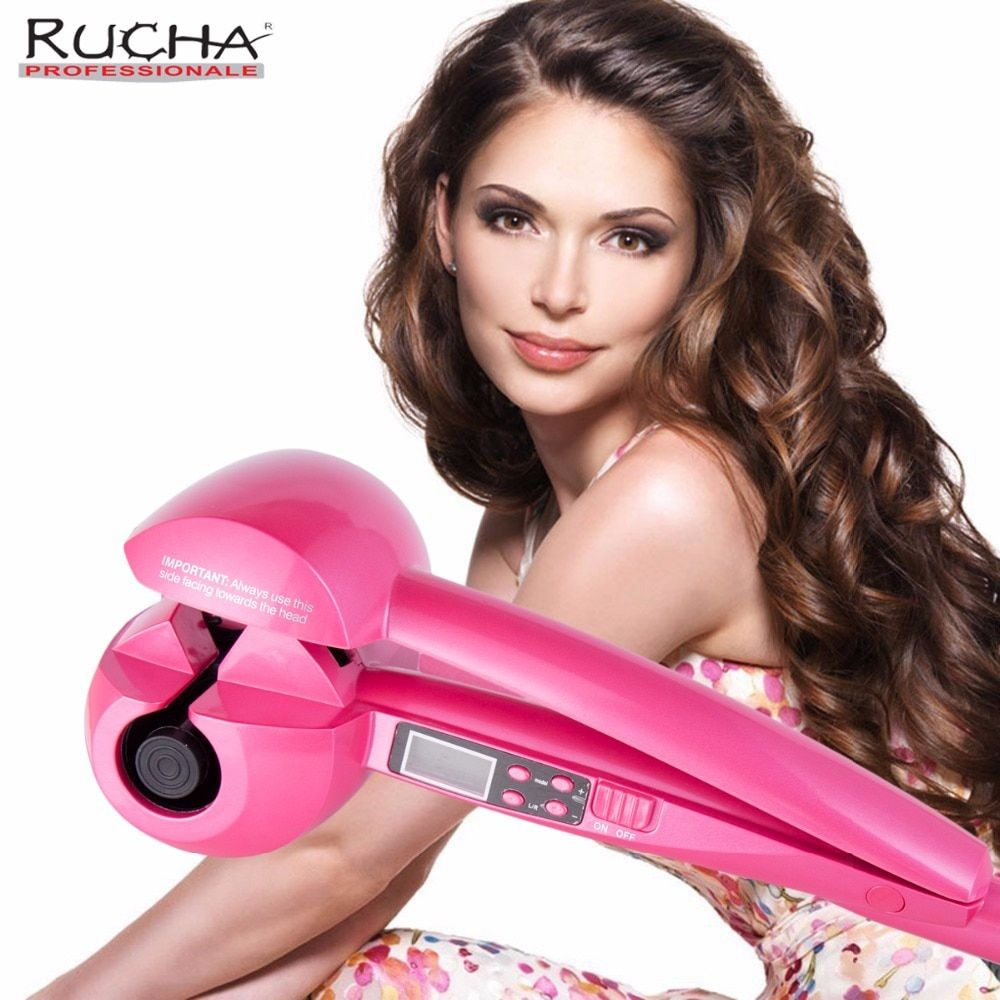 RUCHA Automatic Hair Curling Iron with Hair Curler Roller Wand for Magic Wave Hair Curls Treatment Care Tongs