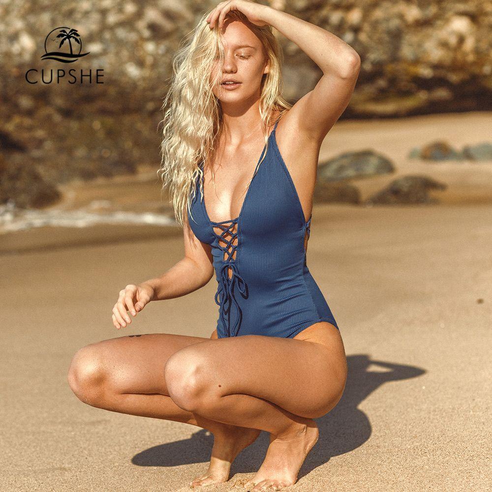 CUPSHE rappelle moi solide une-pièce maillot de bain femmes dos nu profond col en V à lacets Sexy body 2019 plage maillot de bain
