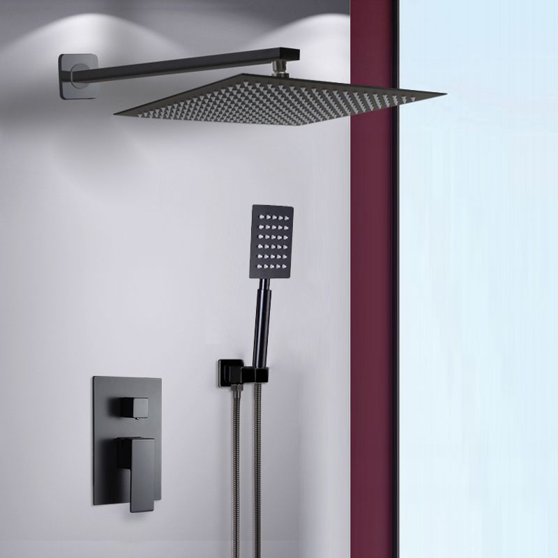 BAKALA Black Stainless Steel Square Black Shower Set Bathroom Rain Shower Head Faucet Shower Mixer Handheld Shower Spray Set