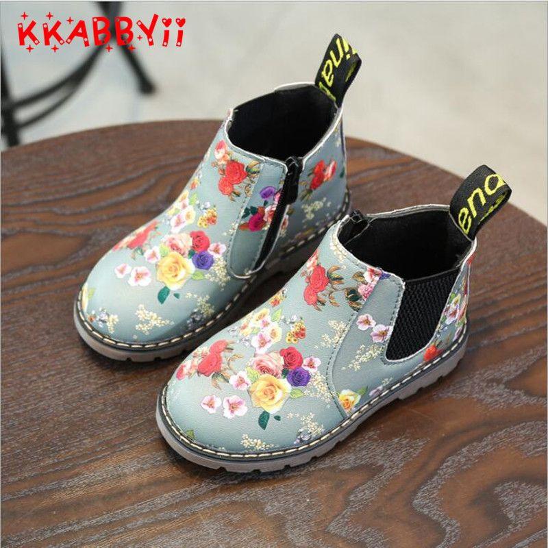 KKABBYII Mode Impression Enfants Chaussures Filles Bottes En Cuir PU Mignon Bébé Bottes Confortables Cheville Enfants Fille Martin Chaussures Taille 21-36