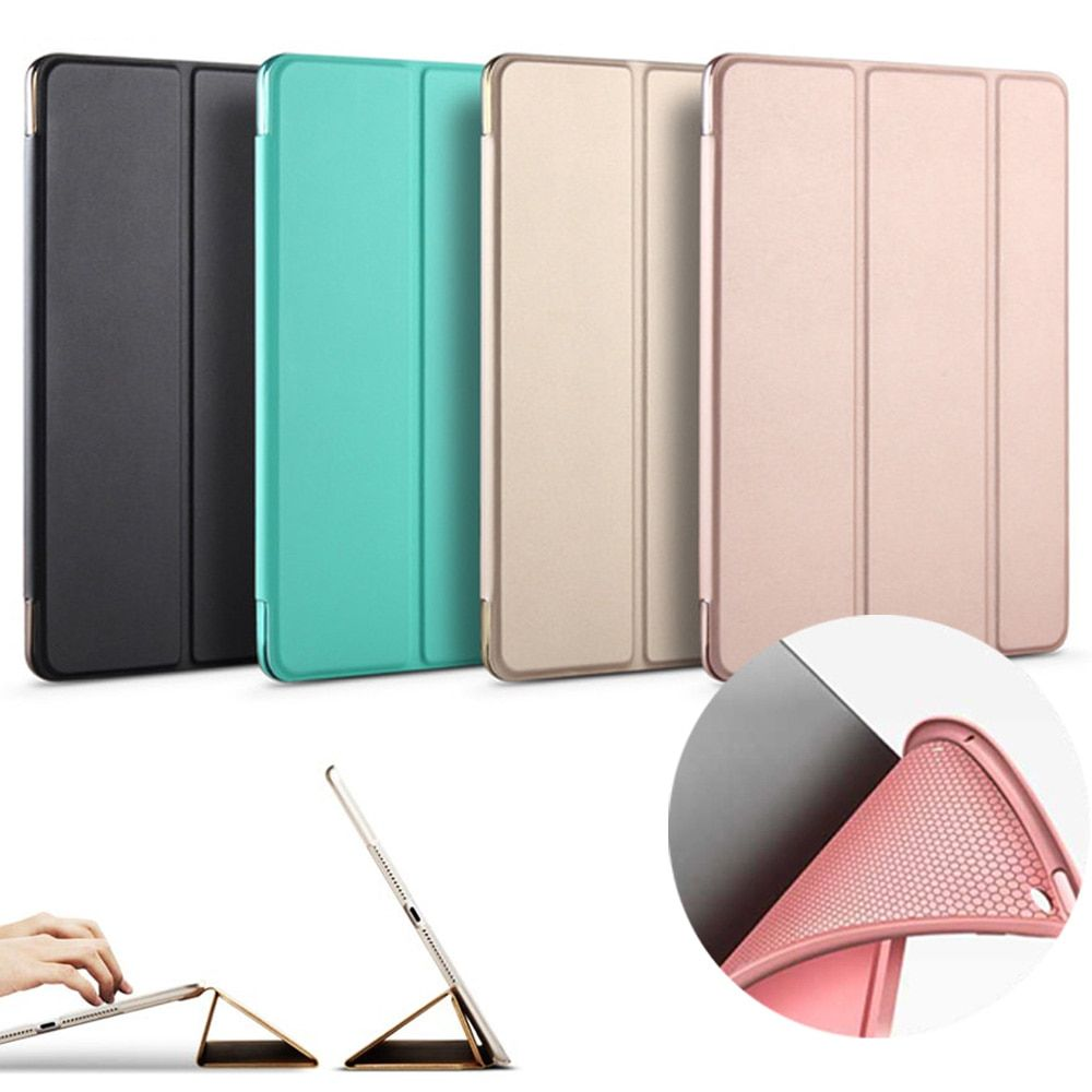 Cas pour Nouvel iPad 9.7 pouces 2017 2018 Libération modèle A1822 A1823 A1893A1954 Doux fond de silicone + PU Cuir Smart cover Veille Automatique