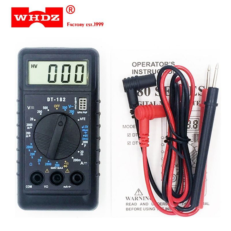 WHDZ DT182 Extra Mini Digital Multimeter with Buzzer Overload protection Pocket voltmeter Ampere Ohm Meter Test Probe DC AC LCD