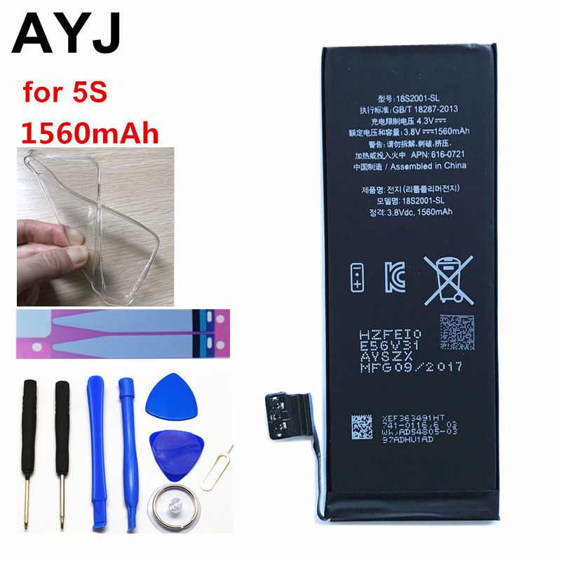AYJ 1Piece Brand New AAAAA Quality Phone Battery for iPhone 5S 5C High Real Capacity 1560mah <font><b>Zero</b></font> Cycle Free Tool Sticker Kit