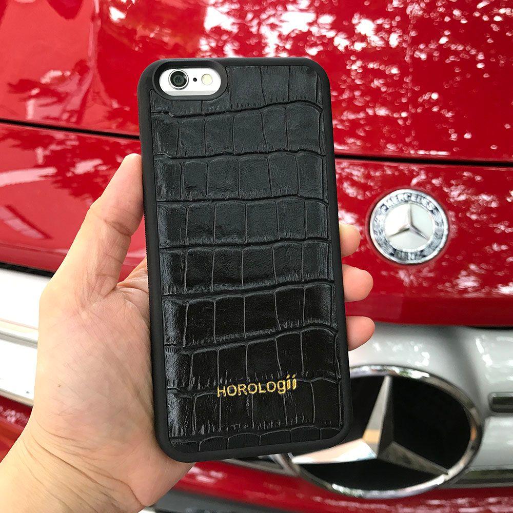 Coque de téléphone en cuir de vache véritable motif Crocodile en relief noir pour iphone 7 plus X couvre Xr Xs Max service de nom personnalisé