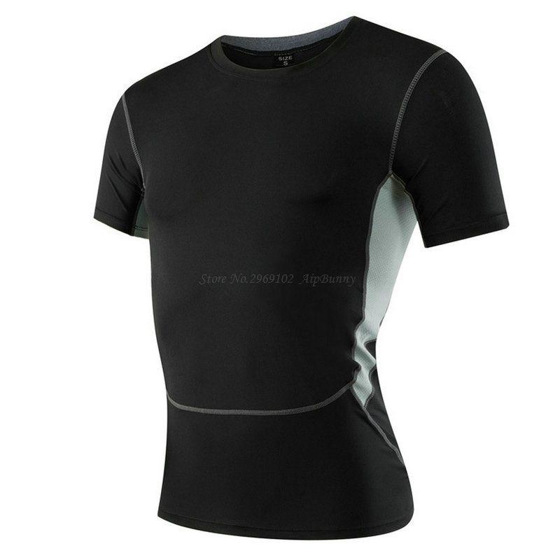 Для мужчин прохладной сжатия сухой Рубашка с короткими рукавами футболка для больших мальчиков Slim Fit Средства ухода за кожей построен ...