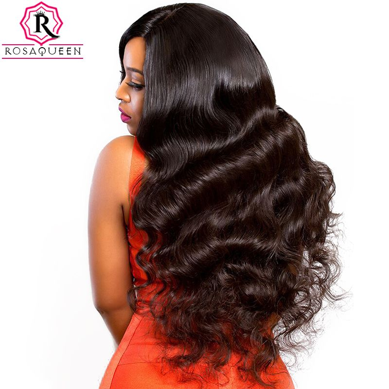 13x6 Lace Front Human Hair Wigs For Women 250% Density Lace Frontal Wig With Baby Hair Black Body Wave Rosa Queen Remy Full Ends