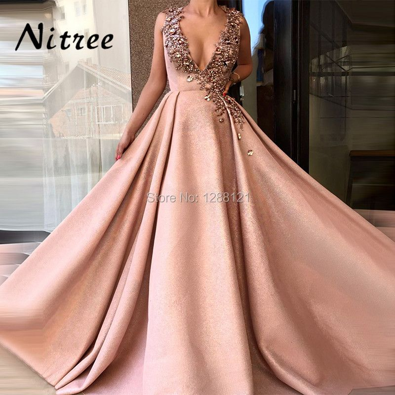 Newest Sexy Deep V Neck Evening Dresses Vestidos Dubai Turkish Arabic Lebanon Prom Dress Formal Party Aibye Abendkleider Gowns
