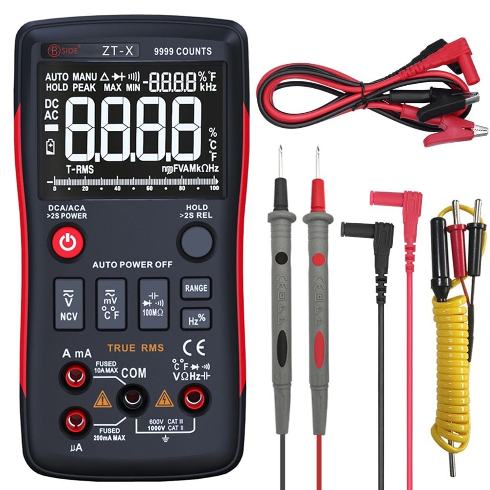 True RMS Digital Multimeter BSIDE ZT-X 9999 Counts 3-Line Triple Display Temperature ohm Tester Meter Voltmeter Ammeter RM409B