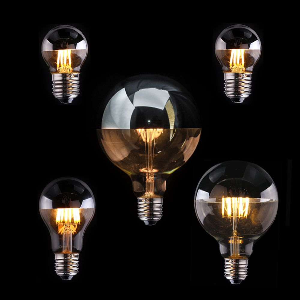 Vintage LED Filament Light Bulb,Edison A19 G45 G95 Style,Cown Silver 4W,6W,8W,2700K(Warm White),110V 220V AC,Dimmable