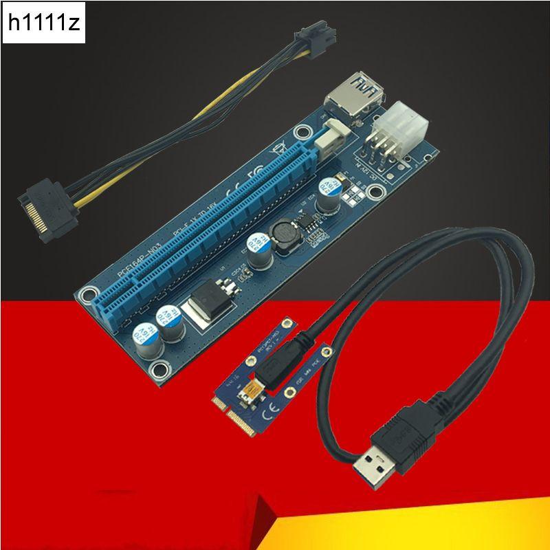 60 cm USB 3.0 Mini PCI-E à PCIe PCI Express 1x à 16x Extender Riser Carte Adaptateur SATA 6Pin câble d'alimentation pour Bitcoin BTC Minière