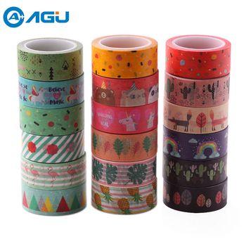 AAGU Nouvelle Arrivée 1 PC Ananas Flamingo Conception Washi Bande Bureau Fournitures Papier Décoratif Bande Simple Face Bande de Papier Pour DIY