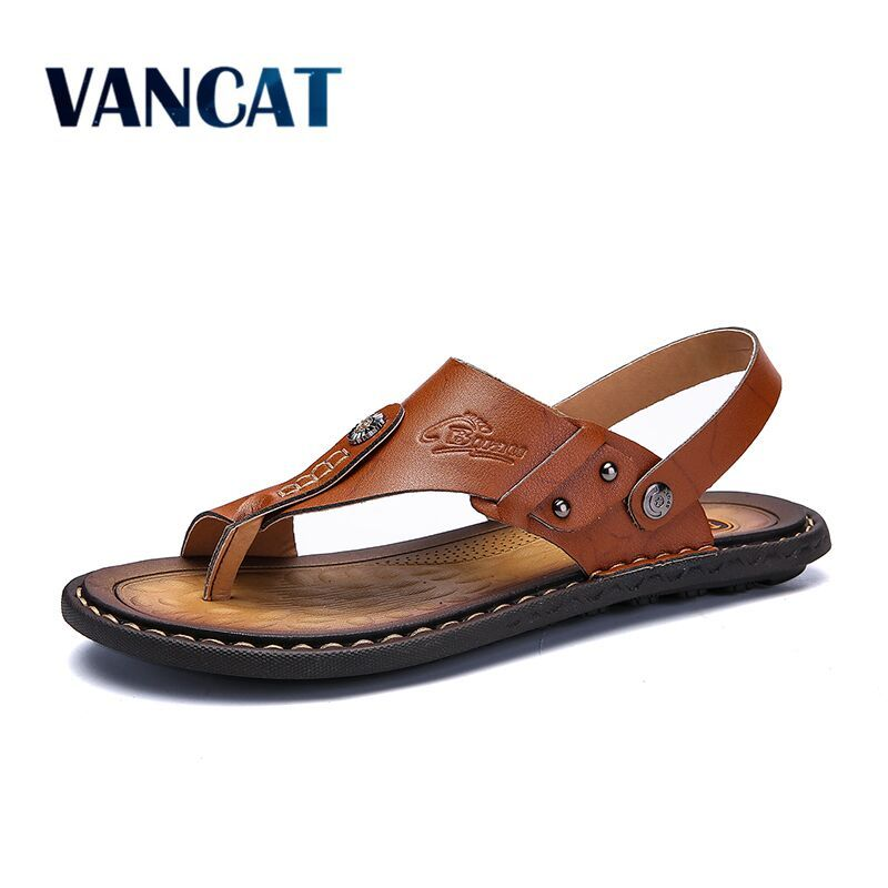 Mens Flip Flops Plus Size 47 Brand Summer Genuine Leather Sandals Men Casual Shoes Outdoor Beach Sandals Comfortable slippers