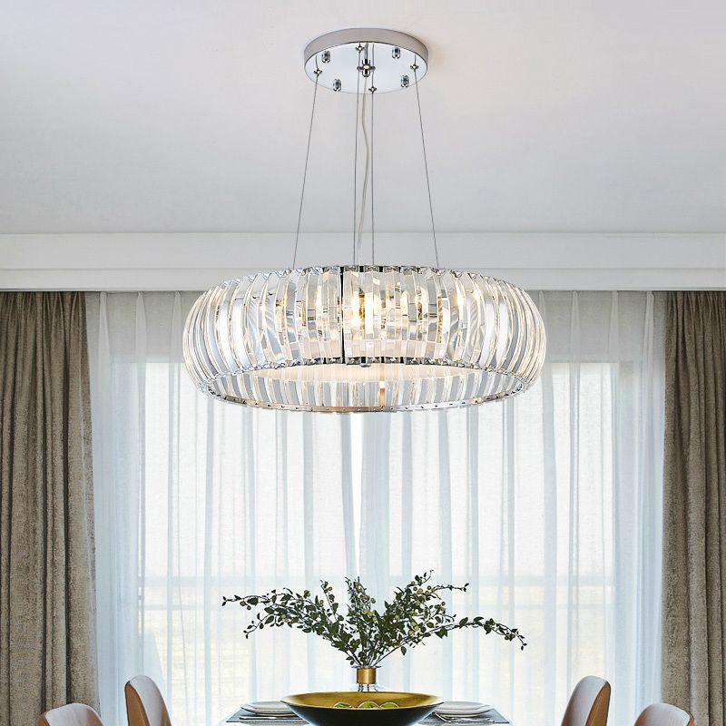 Moderne Glanz Kristall Führte Kronleuchter Beleuchtung Esszimmer Chrom Metall Led Anhänger Kronleuchter Lichter Foyer Hängen Lampe Leuchte