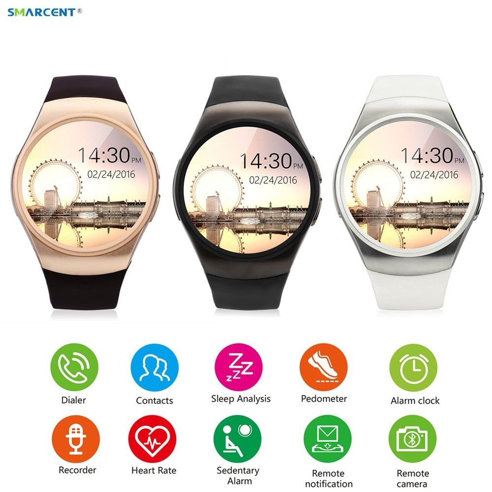 SMARCENT KW24 Smart Watch Connected Wristwatch For Samsung Xiaomi Android Support Sync Call Messager kw18 Smartwach phone watch