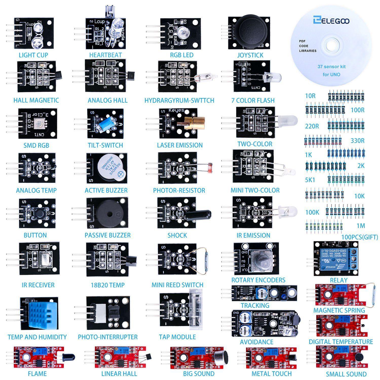 37-in-1 Sensor Module Kit for UNO R3, MEGA, NANO with gift