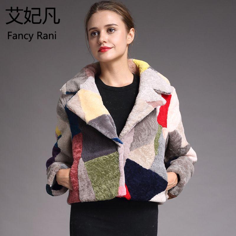 Fashion Genuine Sheepskin Fur Coats for Women Winter Warm Wool Coat Female Noble Patchwork Warm Sheep Shearing Jacket Outwear