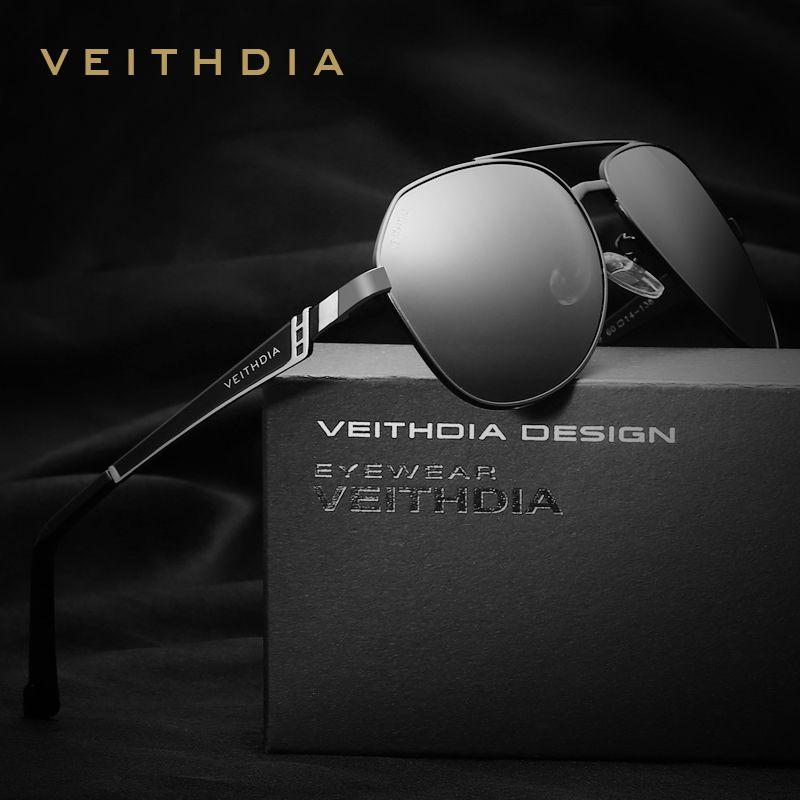 VEITHDIA Brand Designer <font><b>Stainless</b></font> Steel Men's Sunglasses Polarized Mirror Lens Eyewear Accessories Sun Glasses For Men 3559