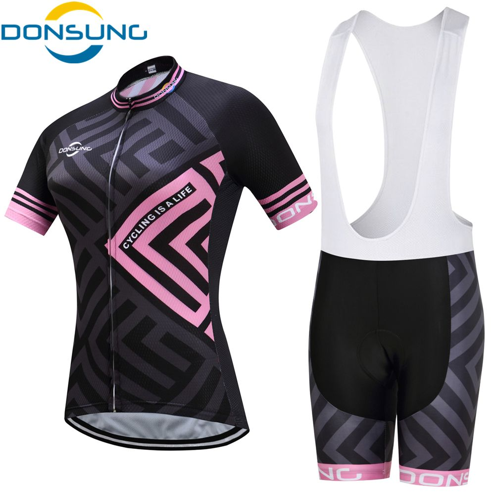 DONSUNG Cycling Jersey Sets Short Sleeve Women's Cycling Clothing Bicycle Wear Abbigliamento Ciclismo Estivo 2017 Ropa Ciclismo