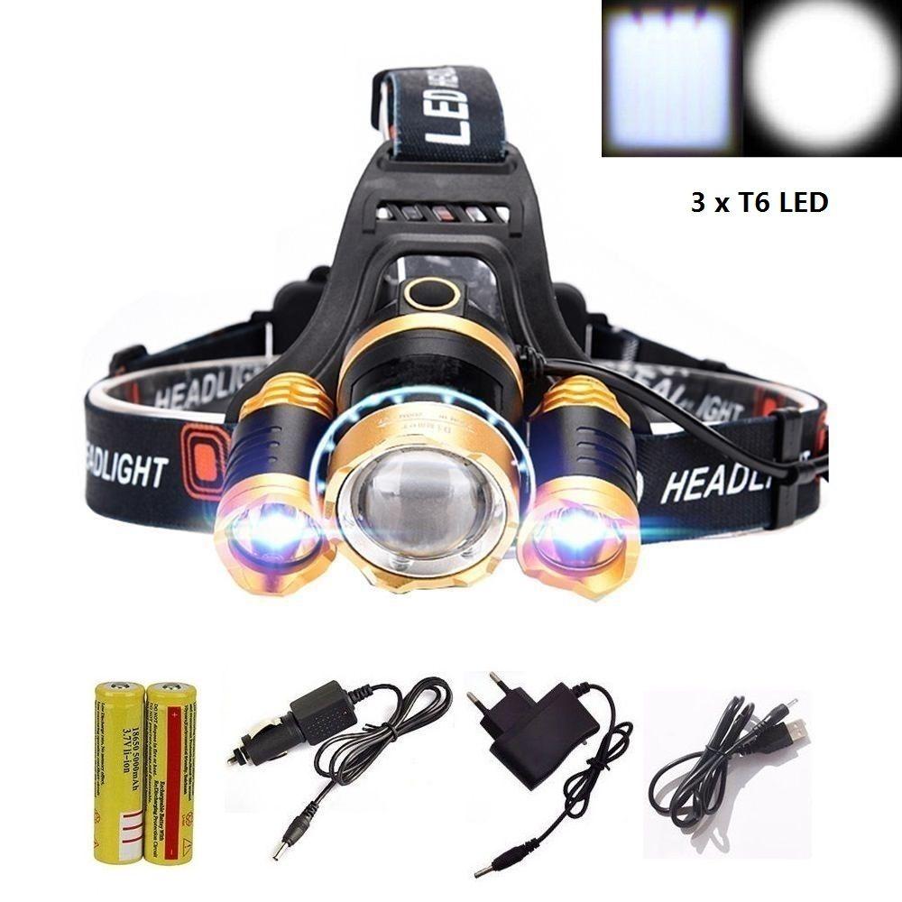 3 X T6 светодиодный увеличить Водонепроницаемый 12000lm фары фара Масштабируемые головной лампы освещения фонарь Факел + 18650 + зарядное устройств...