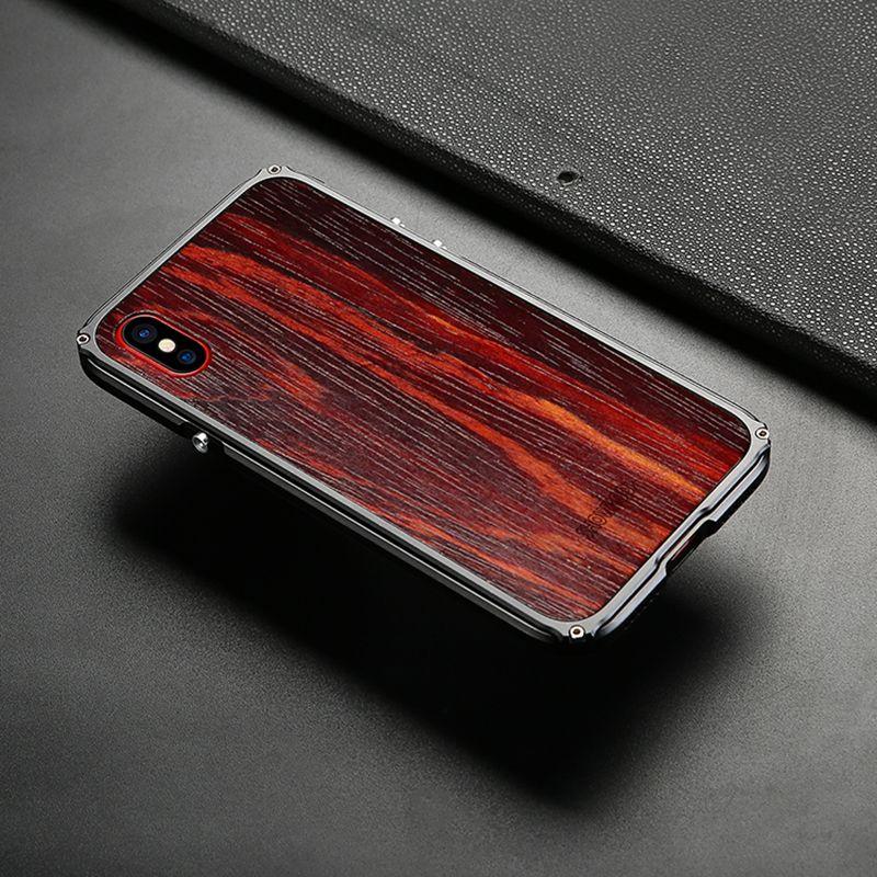 2017 Date Showkoo Caisse En Bois Pour iPhone X Cas De Couverture Naturelle bois Avec Fiber + Métal Cadre Pour iPhone X Cas De Bois Livraison Gratuite