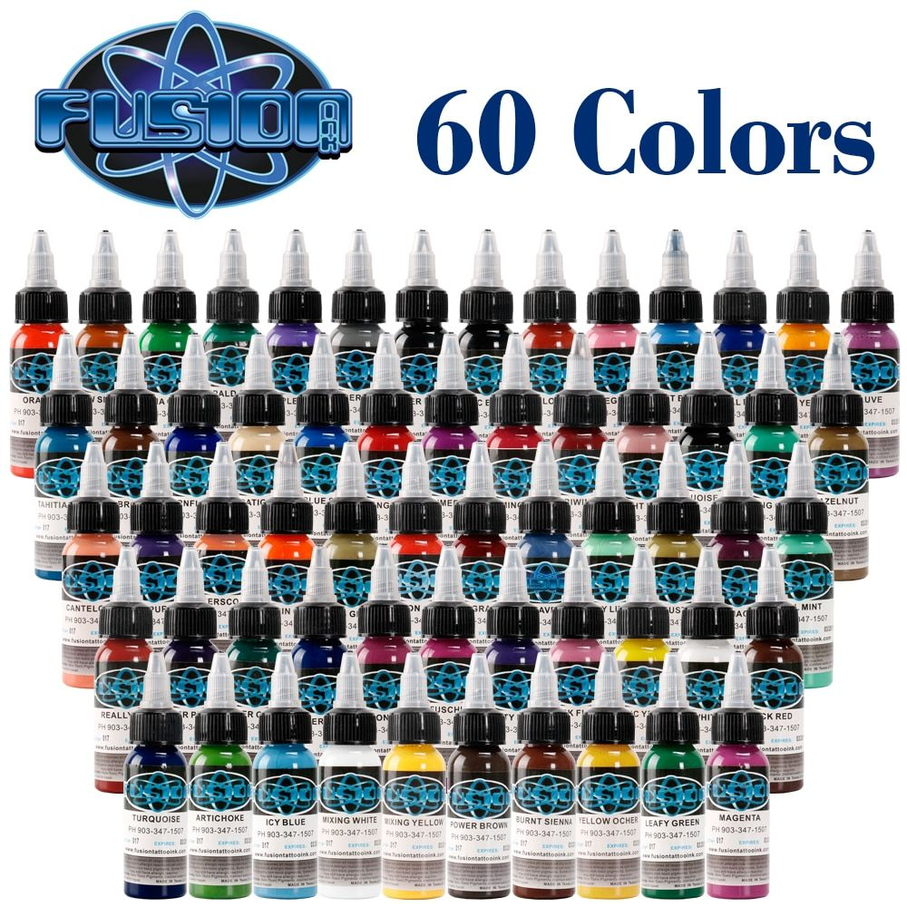 2018 New Tattoo Pigment 60pcs/Batch Fusion Tattoo Ink Set Permanent Makeup Paint 30ml Cosmetic Beauty Coating