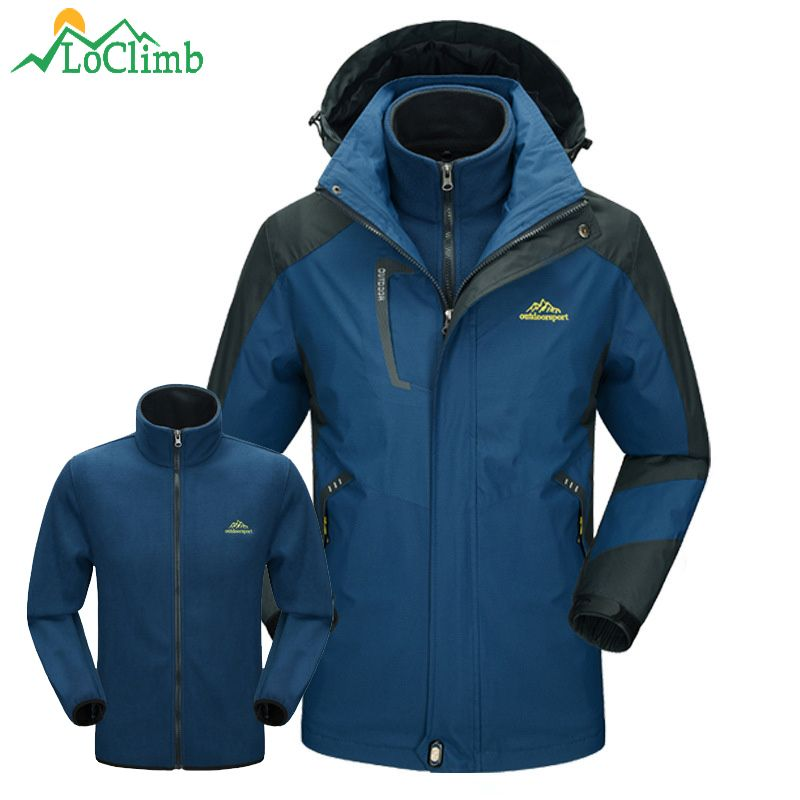 LoClimb 3 In 1 Outdoor Ski Hiking Jackets Men Winter Waterproof Windbreaker Camping Trekking Climbing Sports Fleece Coat,AM166