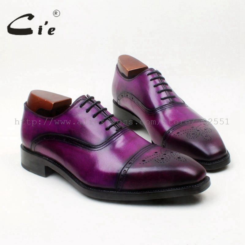 cie Square Toe Semi-Brogues Lace-Up Oxfords Patina Purple 100%Genuine Calf Leather Bottom Outsole Goodyear Welted Men ShoeOX678