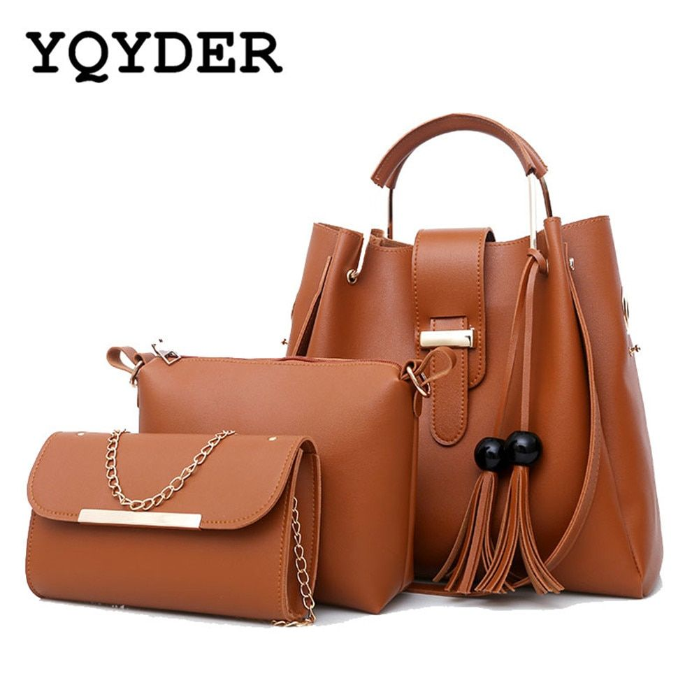 Women 3Pcs/Set Handbags PU Leather Shoulder Bags Casual Tote Bag Tassel Metal Handle Designer Composite Messenger Bag Purse Sac