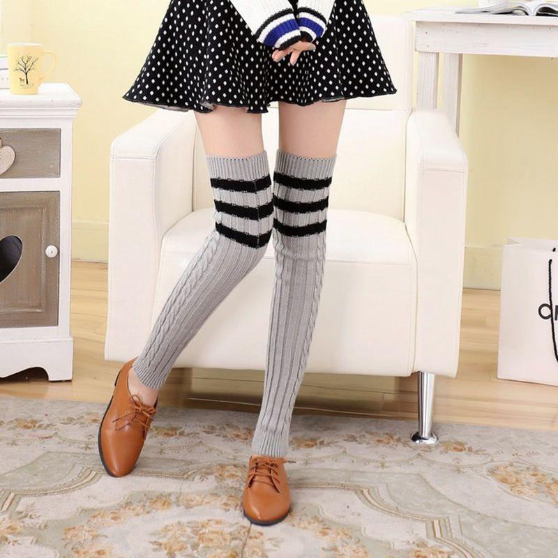 Для женщин лишен шерстяной на Высоком толстом Чулки для женщин новые модные сапоги выше колена теплые Эротические чулки для женщин Повседн...