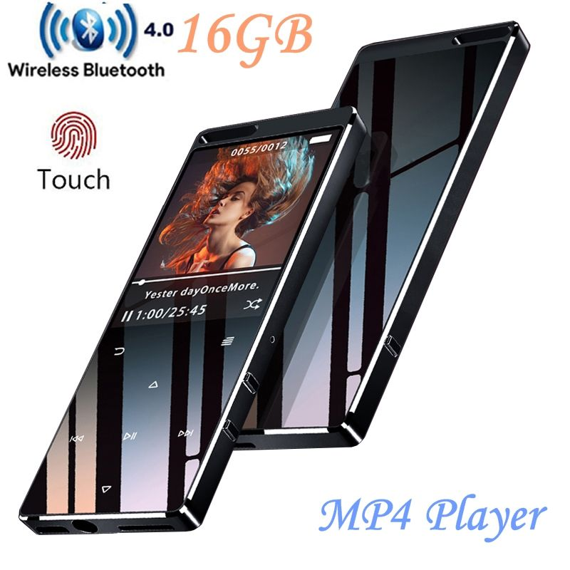 Bluetooth MP4 Player 16 gb Touch-Taste Ultra-dünne HIFI Verlustfreie Sound Qualität Video Player mit FM Radio, unterstützung SD bis zu 128 gb