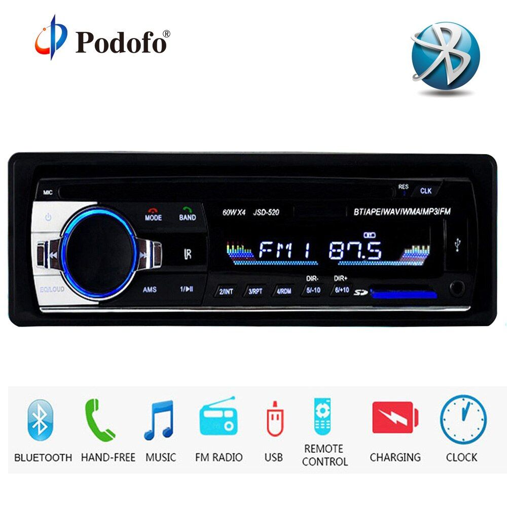 Podofo Autoradio JSD-520 12V Car Radio Bluetooth 1 din Stereo radios AUX-IN FM/USB/Receiver MP3 Multimedia Player Car Audio