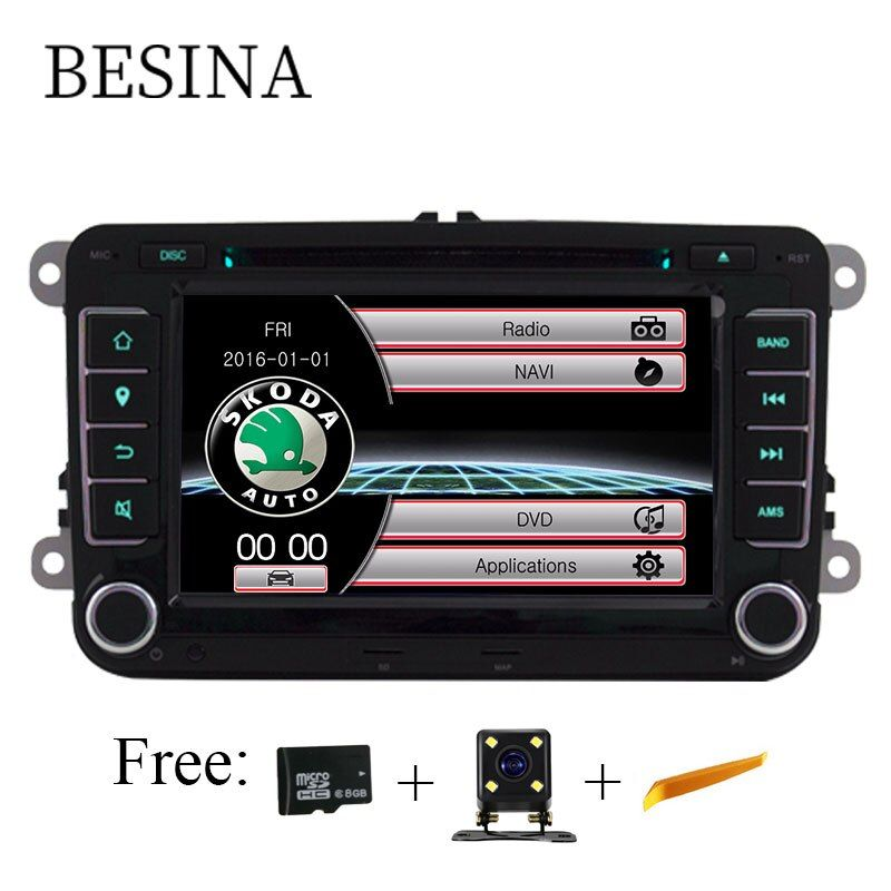 2 Din 7 Inch Car DVD Radio Player for Skoda Volkswagen VW passat B6 golf 4 touareg T5 sharan Touran polo tiguan GPS Navigation