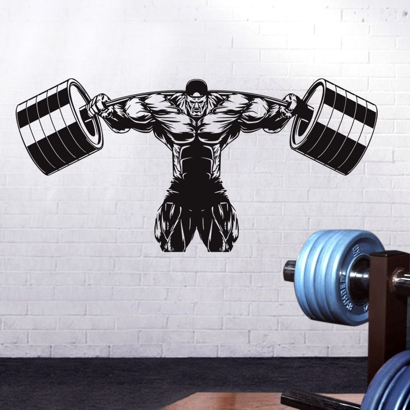DCTAL Gym Sticker Fitness Decal Bodybuilding Dumbbell Posters Name Muscle Vinyl Wall Parede Decor Gym Sticker