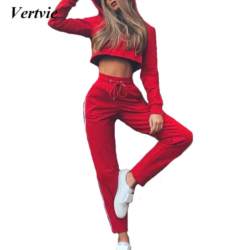 Vertvie Red Sexy Women's Running Sport Suit Cropped Tops Pullover Hoodies+Drawstring Pants Tracksuit Fitness Suits Autumn Spring