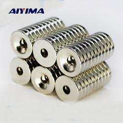 Aiyima 50 piezas 10x3mm agujero 3mm N50 fuerte anillo imán D imanes del neodimio de la tierra rara imán permanente