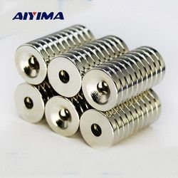 Aiyima 50Pcs 10 x 3mm Hole 3mm N50 Strong Ring Magnet D Countersunk Rare Earth Neodymium Magnets Permanent Magnet