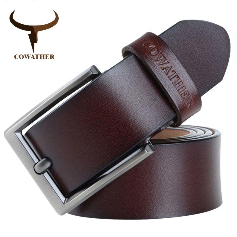 COWATHER 2019 hommes ceinture en cuir de vache véritable bracelet de luxe mâle ceintures pour hommes nouvelle mode classique broche rétro boucle livraison directe