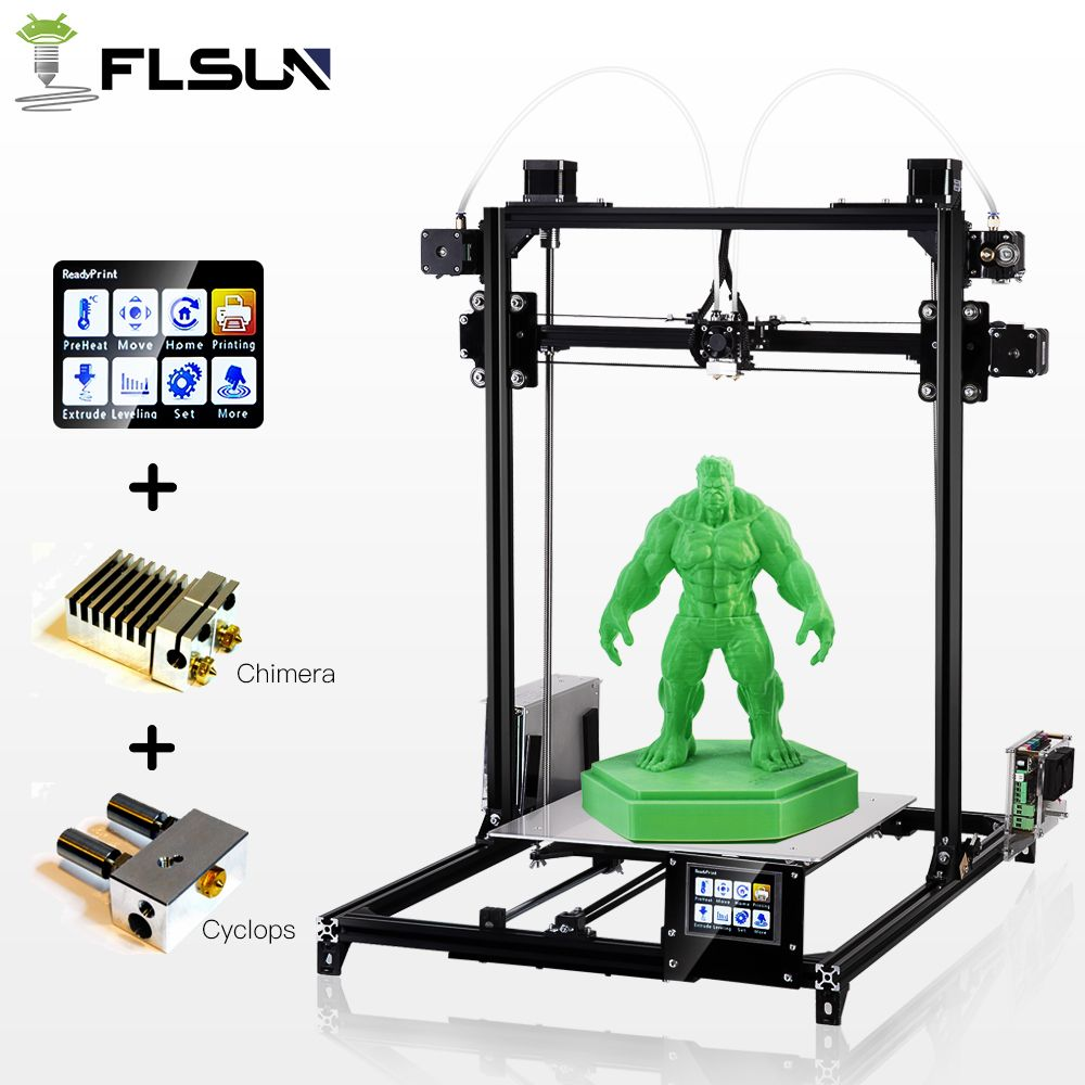 Large Printing Size Flsun I3 3d Printer Touch Screen Dual Extruder Auto Leveling DIY 3D Printer Kit Heated Bed 2 Rolls Filament