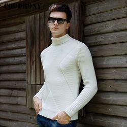 Coodrony Tebal Hangat Pullover Turtleneck Pria Musim Dingin Natal Sweater Pria Rajutan Wol Menarik Homme Slim Fit Kasmir Sweater 8203