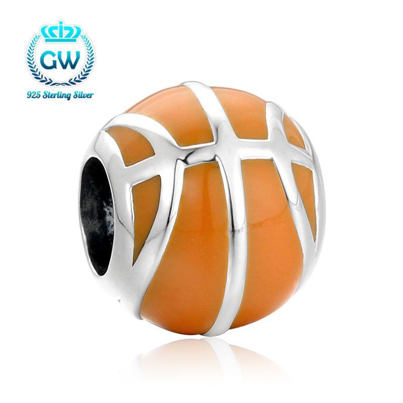 Высокая действительно сделать как Баскетбол Шарм бисер Fit оригинальный европейский браслет Аутентичные 925 пробы Серебряные ювелирные изде...
