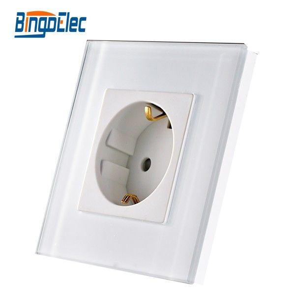Standard de L'UE prise de courant en allemagne, blanc Cristal trempé panneau de verre prise d'alimentation, AC110-250V, vente Chaude