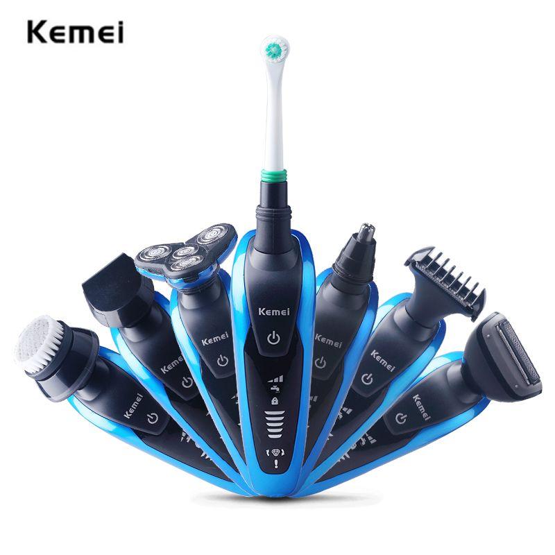 Kemei Multifunction Waterproof 3D Professional Electric Shaver Triple Blade 7 in 1 Electric Shaving Razors Men Face Care 220V