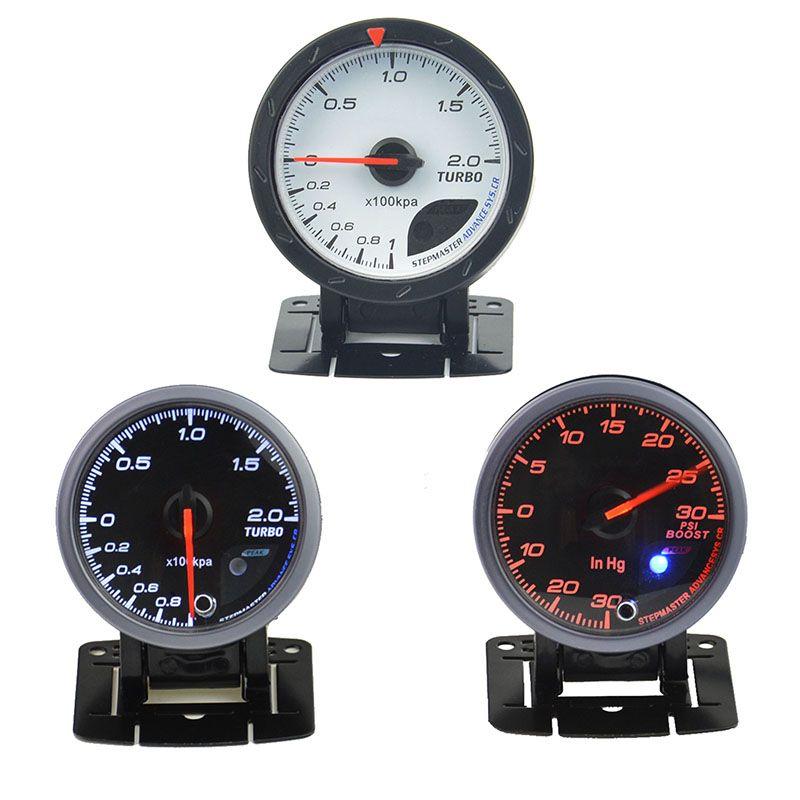 60 mm CarTurbin boost gauge and turbo gauge Car meter warning function Automotive instrument pressure gauge +pods