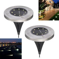 Solar Powered tierra ligera jardín impermeable camino cubierta luces con 8 LEDs lámpara Solar para el hogar patio calzada césped camino